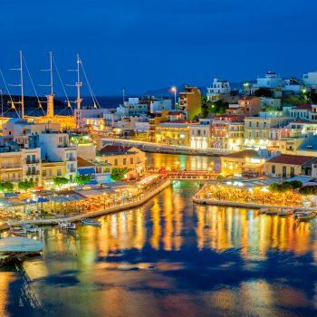 Beautiful Agios Nikolaos town at night. Lasithi region of Crete island, Greece